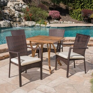 Ferris Outdoor 5 Piece Acacia Wood/ Wicker Dining Set by Christopher Knight Home (teak + brown + cre`me cushion)