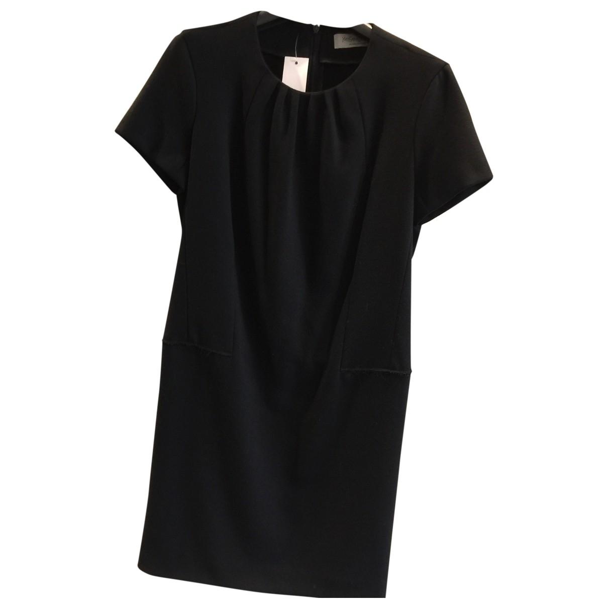 Yves Saint Laurent \N Kleid in  Schwarz Wolle