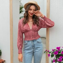 Button Front Appliques Shirred Waist Top