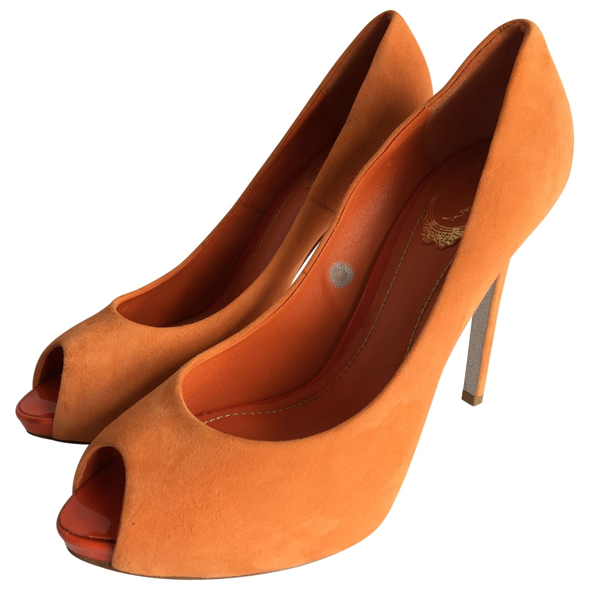 Rene Caovilla \N Pumps in  Orange Veloursleder