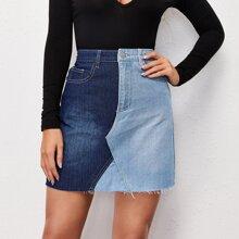 Raw Hem Two Tone Denim Skirt
