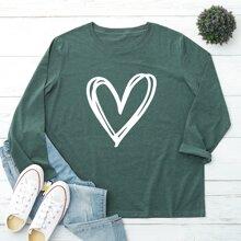 T-Shirt mit Herzen Muster und Rundhalsausschnitt