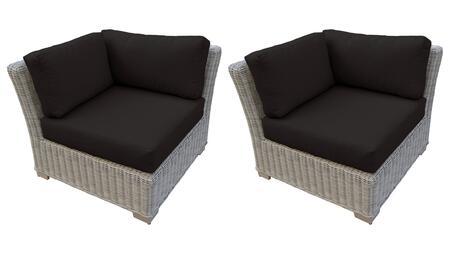 TKC038b-CS-DB-BLACK Corner Chair 2 Per Box - Beige and Black