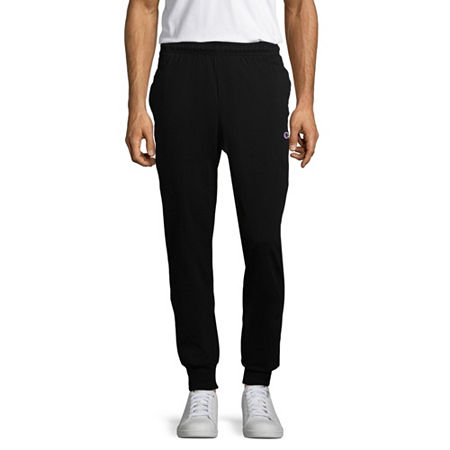 Champion Mens Closed-Bottom Jersey Pants, Medium , Black