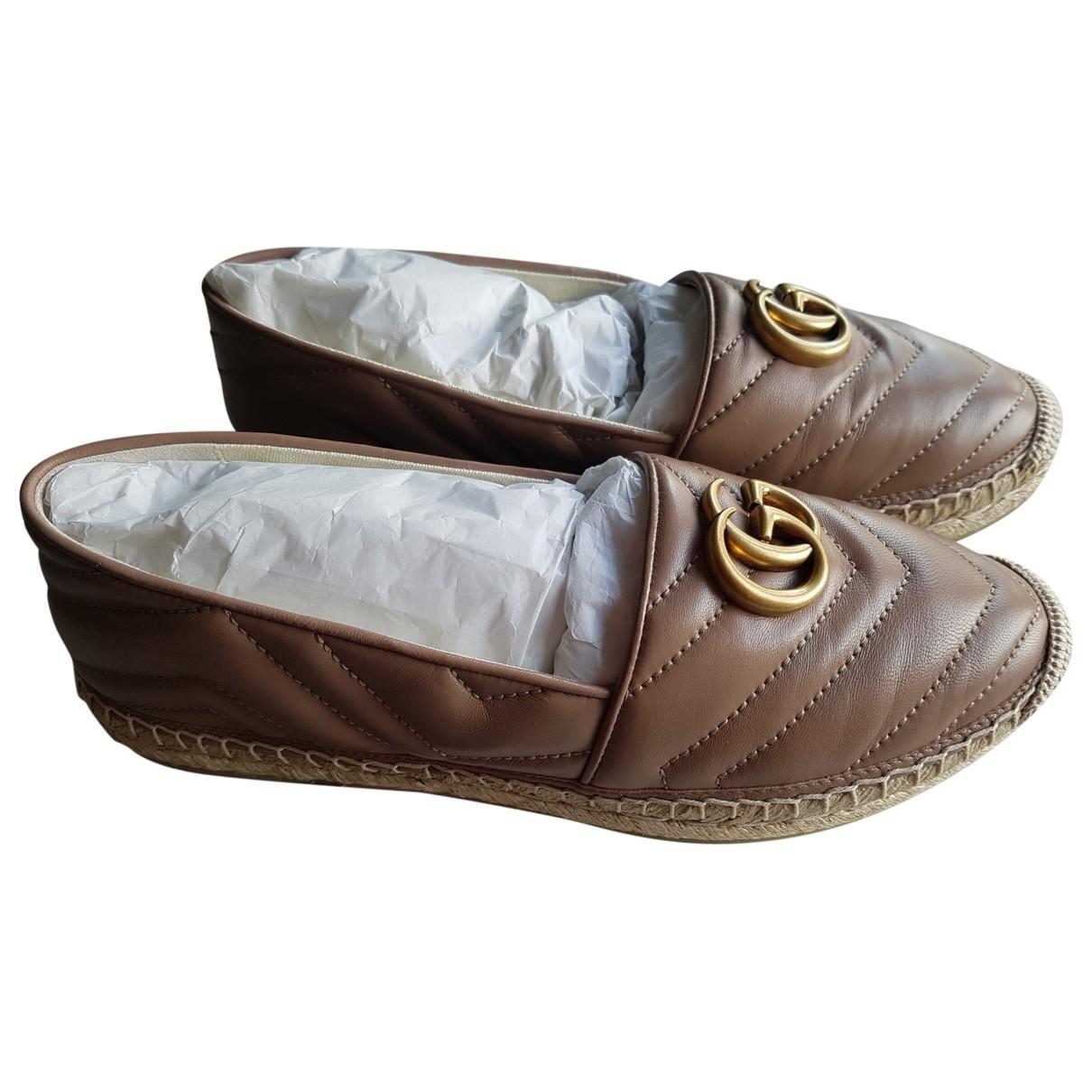 Gucci Lilibeth Beige Leather Espadrilles for Women 39 EU