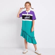 Vestido polo de color combinado bajo fruncido asimetrico con estampado de mixto