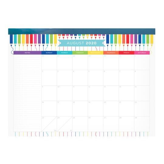Bright Multicolor Pencil Calendar Desk Pad By Recollections™ Back To School | Michaels®