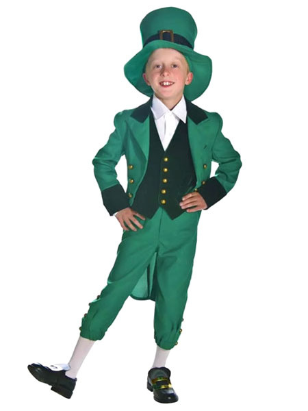 Milanoo Kids Irish Cosplay Costume Green Outfit 4 Piece Child Wears Halloween