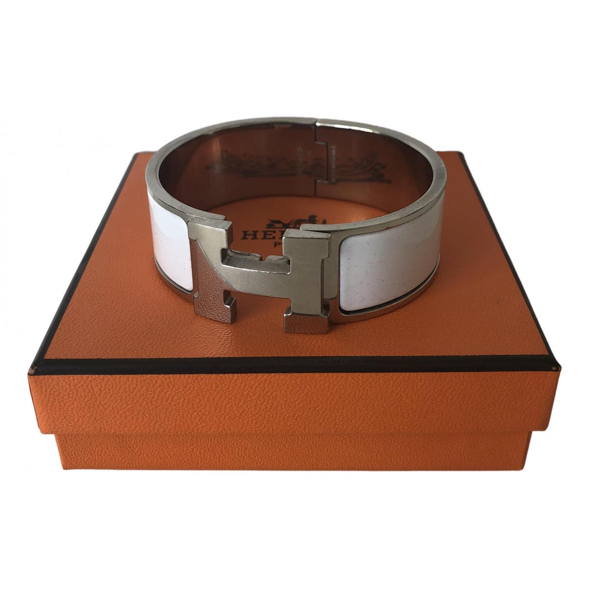 Hermes Clic H Armband in  Weiss Versilbert