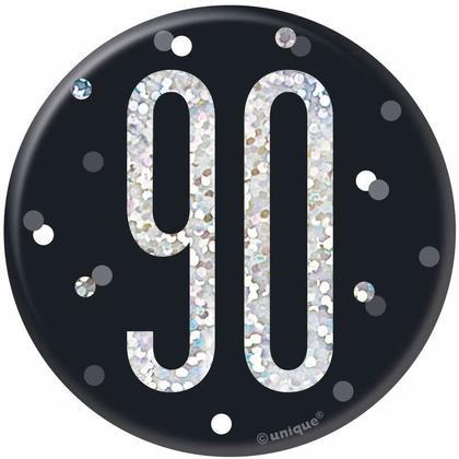Badge danniversaire noir et argenté Anniversaire Glitz, 1 ct - 90 ans