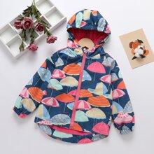 Toddler Girls Umbrella Print Hooded Windbreaker Jacket