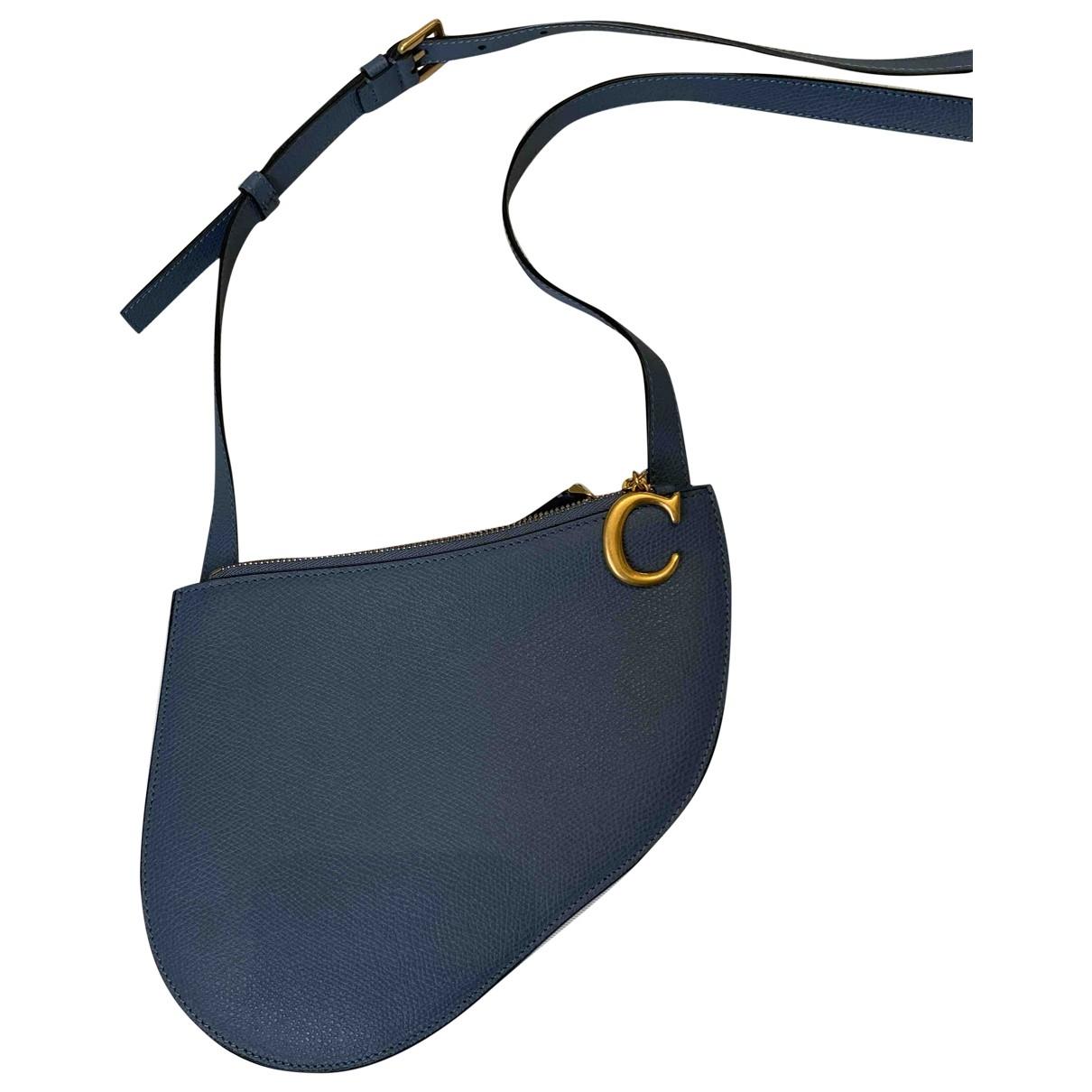 Dior Saddle Clutch in  Blau Leder
