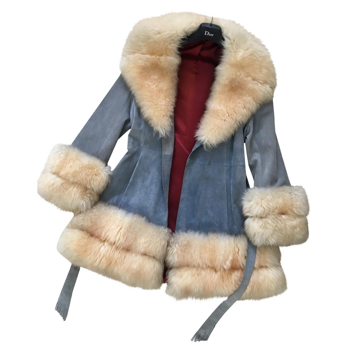 - Manteau   pour femme en suede - bleu