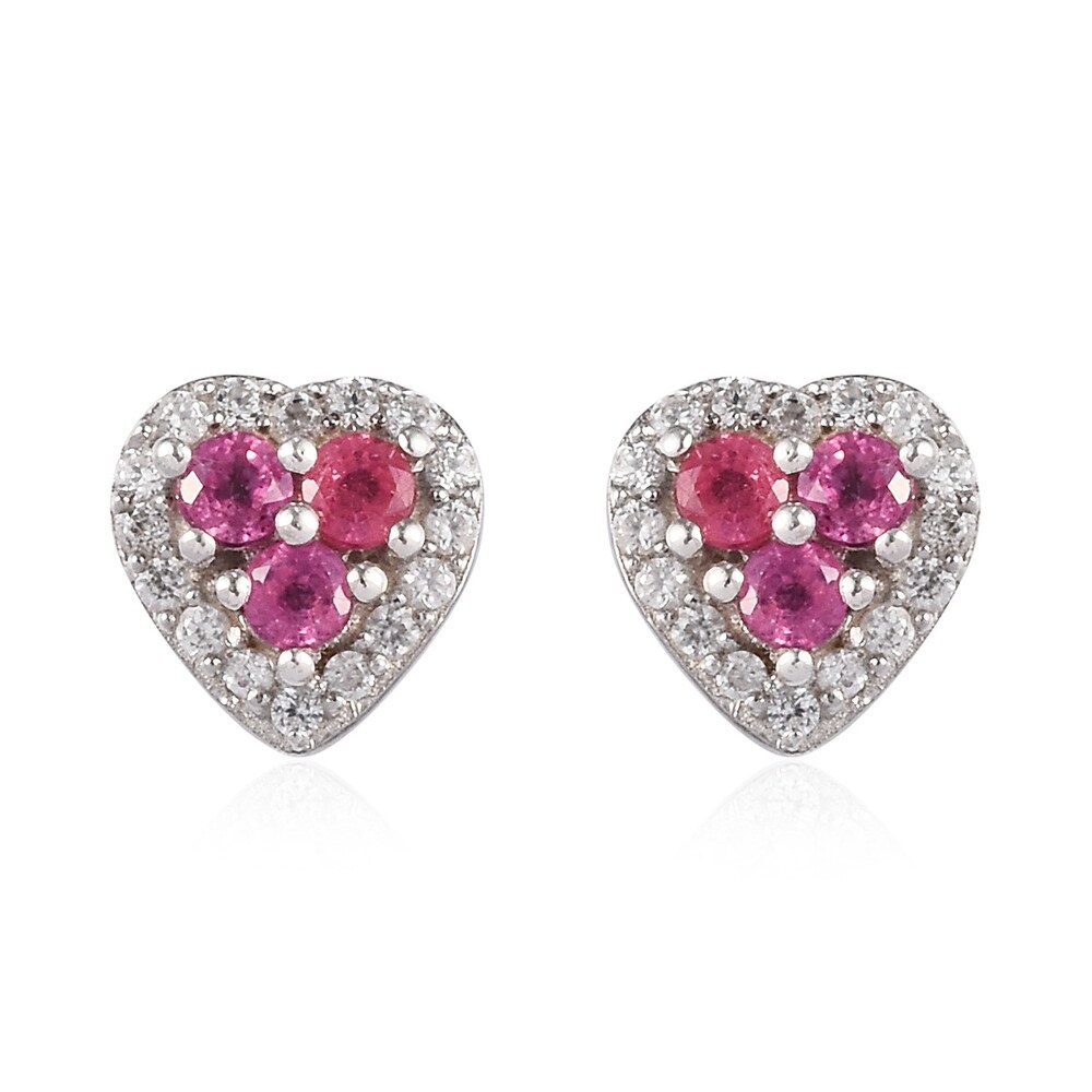 Platinum Over 925 Sterling Silver Ruby Zircon Stud Earrings Ct 1 (Red - Ruby - Red)