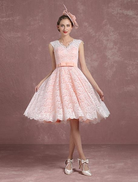 Milanoo Vestido de novia retro hasta la rodilla sin mangas  Botones de linea A Jardin