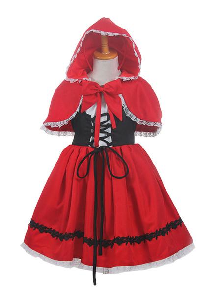 Milanoo Halloween Carnaval Traje de Cosplay de Halloween para niños Caperucita Roja Disfraz de Cosplay de Halloween