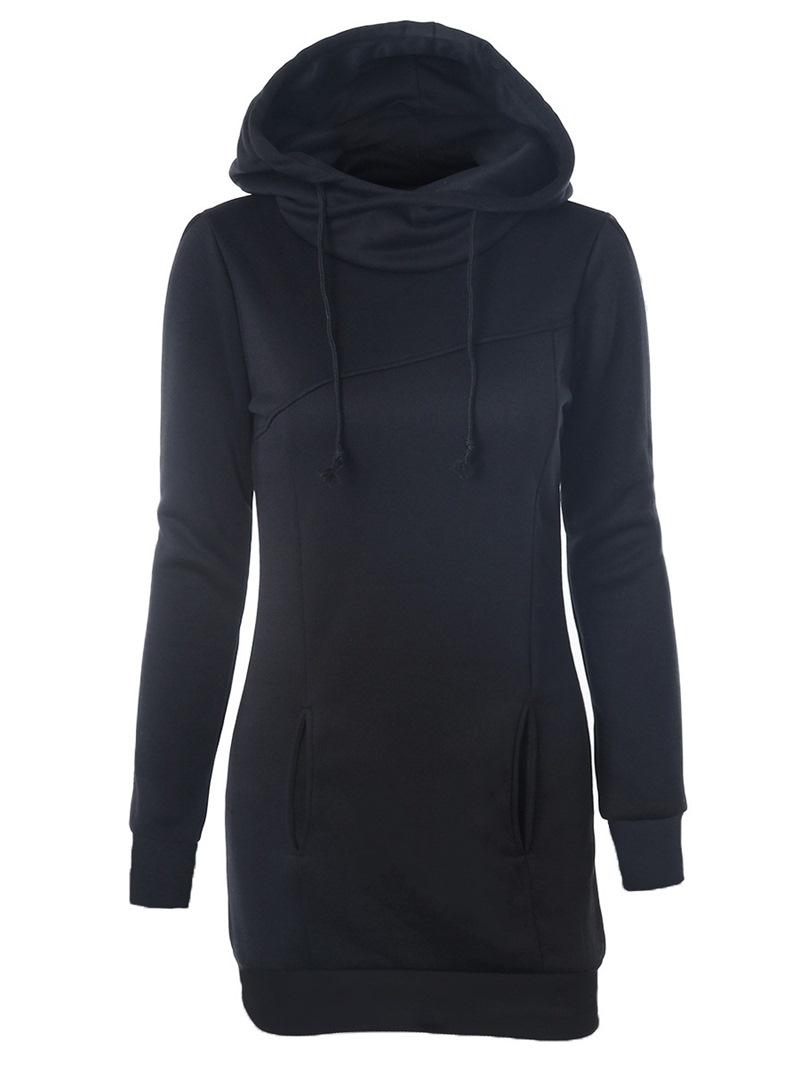 Ericdress Plain Regular Mid-Length Women's Hoodie