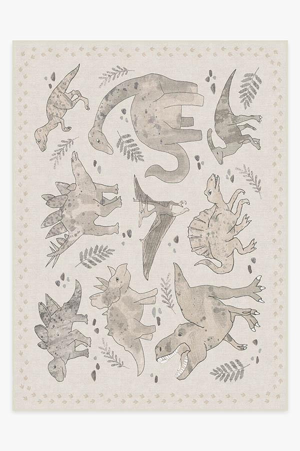 Washable Rug Cover | Dinosaur Parade Warm Grey Rug | Stain-Resistant | Ruggable | 9'x12'