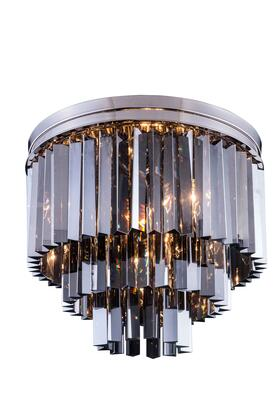 1201F20PN-SS/RC 1201 Sydney Collection Flush Mount D: 20 H: 16 Lt: 9 Polished nickel Finish (Royal Cut Silver Shade