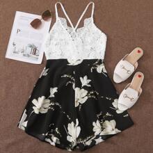 Cami Jumpsuit mit Blumen Muster und Spitzen