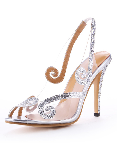Milanoo High Heel Sandals Womens Transparent Sequined Peep Toe Slingback Stiletto Heels Sandals