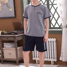 Men Letter Graphic Ringer Tee & Shorts PJ Set