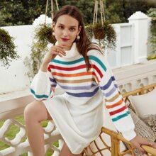 Turtleneck Rainbow Stripe Sweater Dress Without Belt