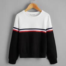 Pullover mit Farbblock, Streifen und Band