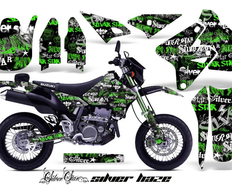 AMR Racing Dirt Bike Graphics Kit Decal Sticker Wrap For Suzuki DRZ400SM 2000-2018áSSSH GREEN BLACK