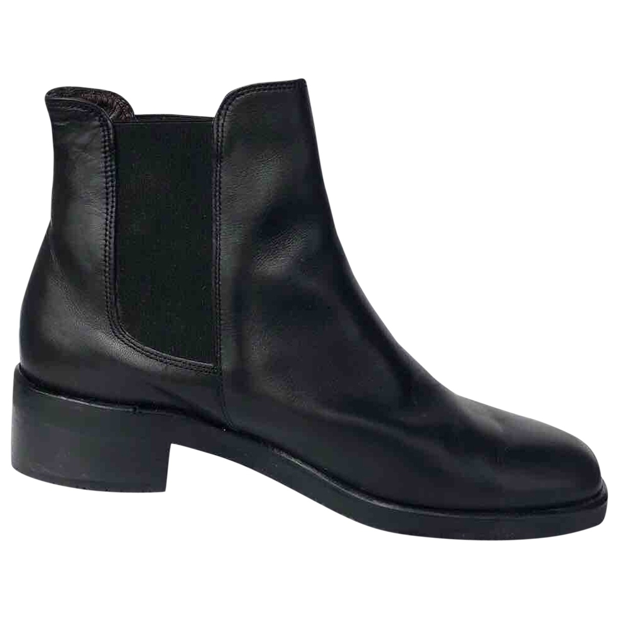 Non Signé / Unsigned \N Black Leather Ankle boots for Women 37 IT