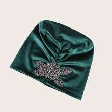 Samt Turban Hut mit Perlen Dekor