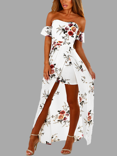 Yoins White Off Shoulder Random Floral Print Slit Dress