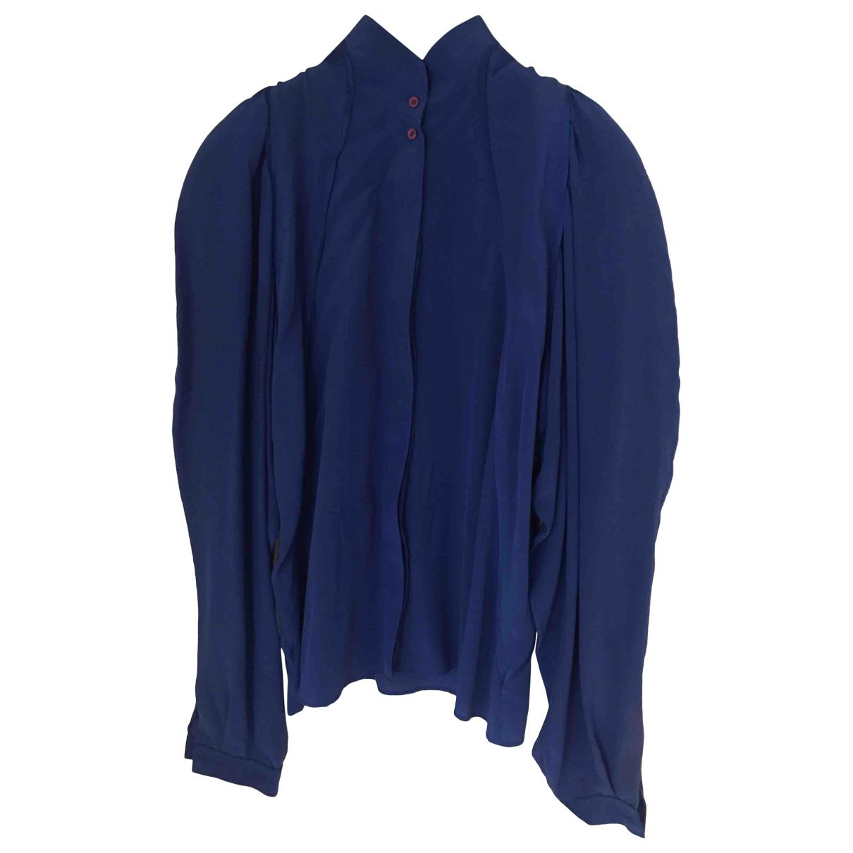 Genny - Top   pour femme en soie - bleu