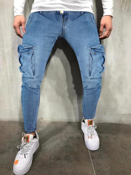 Yoins Men Casual Ripped Multi Pocket Streetwear Skinny Jeans