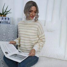Pullover mit Chevron Muster und Stehkragen