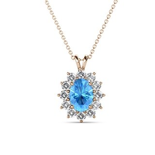 TriJewels Gemstone Diamond Double Bail Halo Pendant Necklace 14K Gold (Topaz - Rose)