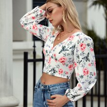 Floral Print Shirred Back Crop Blouse