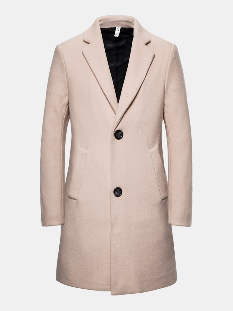 Mens Winter Plain Woolen Mid-Length Business Casual Single-Breasted Overcoat