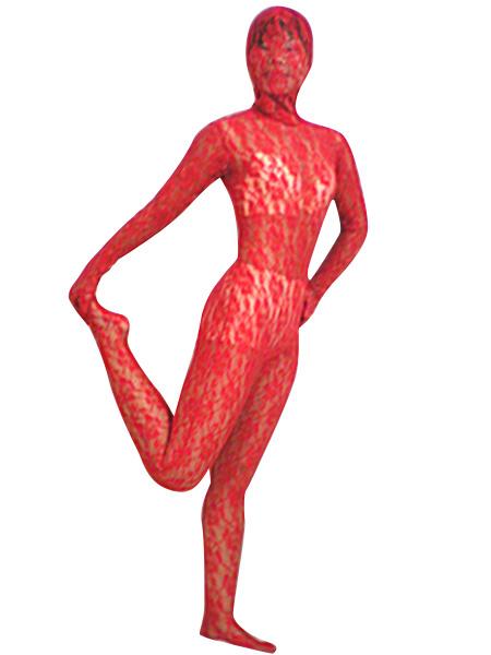 Milanoo Disfraz Halloween Zentai de terciopelo y encaje de color rojo Halloween