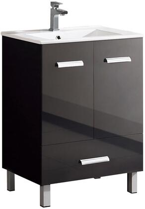 Atwood AT2333BL 24 Vanity with 2 Doors  1 Drawer and Metal Simple Pulls in