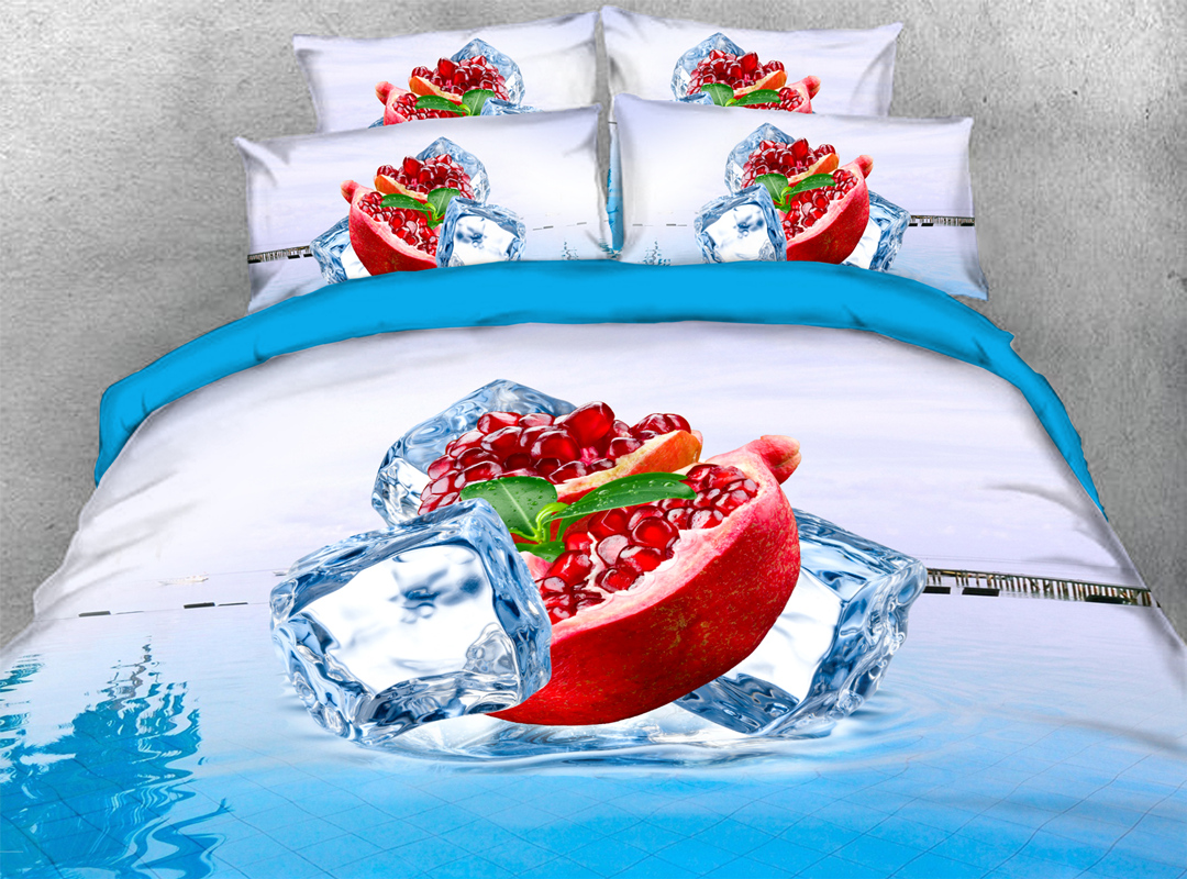 3D Pomegranate and Ice Cube Zipper 4pcs Summer Bedding Sets No-fading Soft Reactive Printing Blue Duvet Cover with Ties