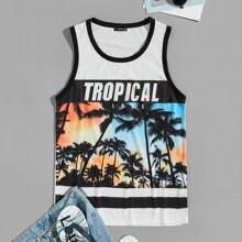 Guys Tropical Print Tank Top