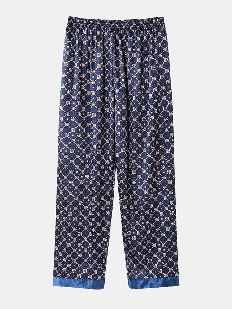 Mens Geometric Print Faux Silk Smooth Patchwork Pajamas Pants