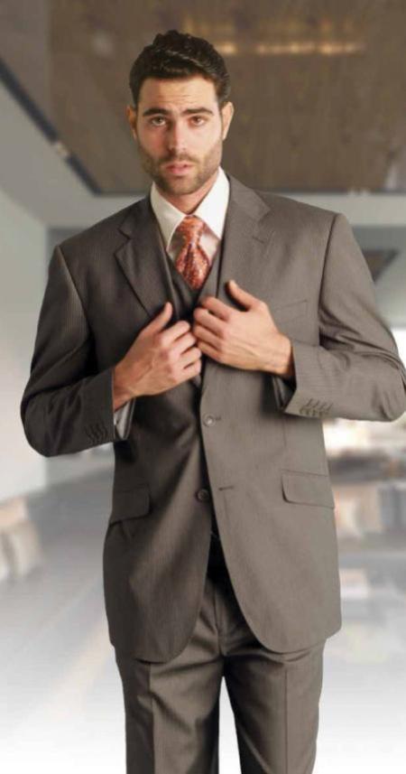 3 Piece 2 Button Vested Extra Fine Italian Fabric Suit