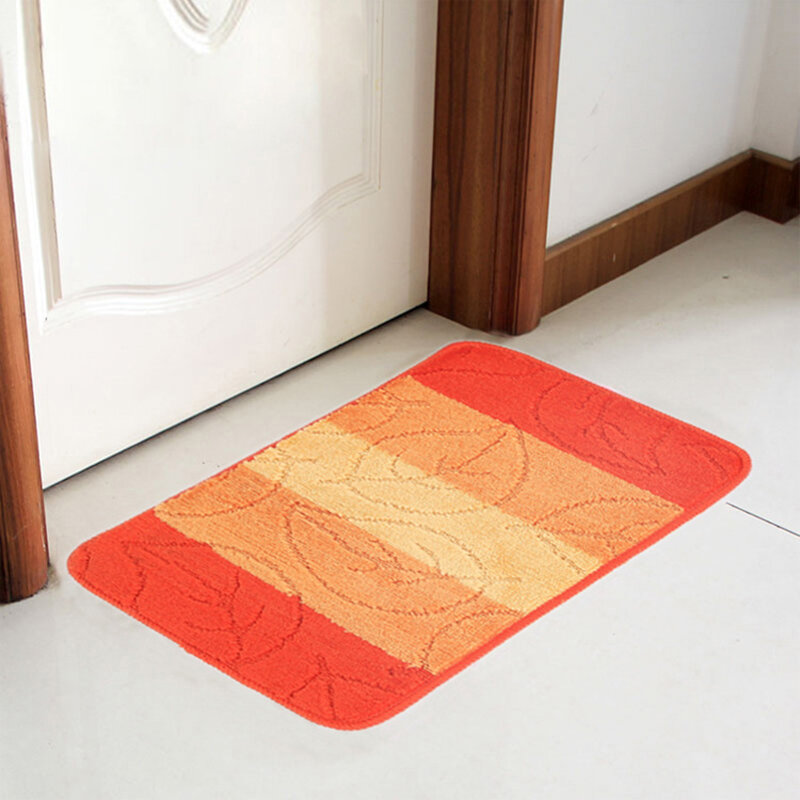 Polypropylene Bathroom Bedroom Floor Carpet Leaves And Stripe Pattern Non-Slip Living Room Kitchen Mat