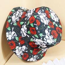 Fischerhut mit Schaedel & Rose Muster