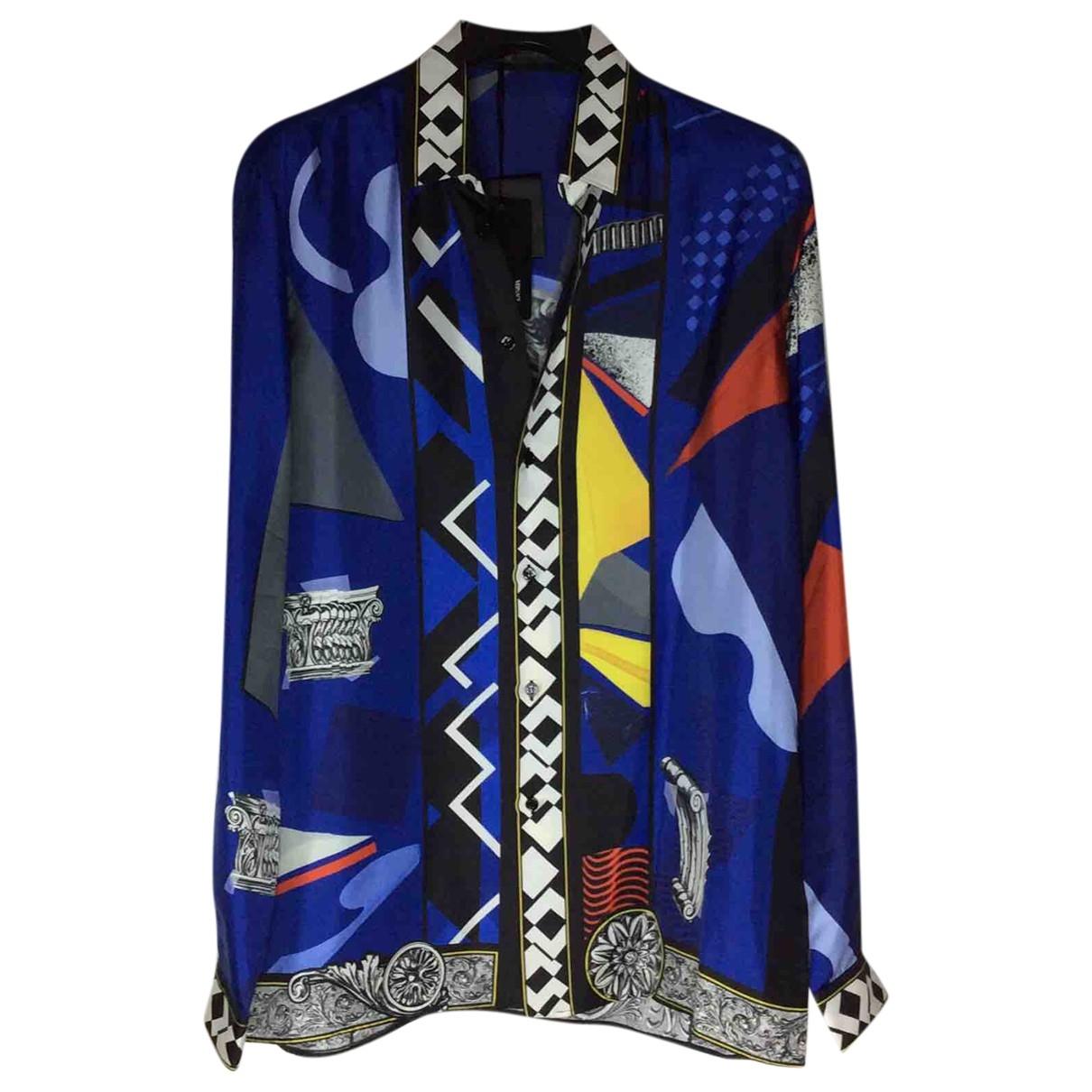 Versace - Chemises   pour homme en soie - bleu