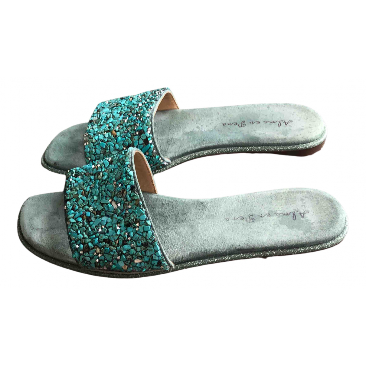 Non Signé / Unsigned \N Turquoise Leather Sandals for Women 38 EU