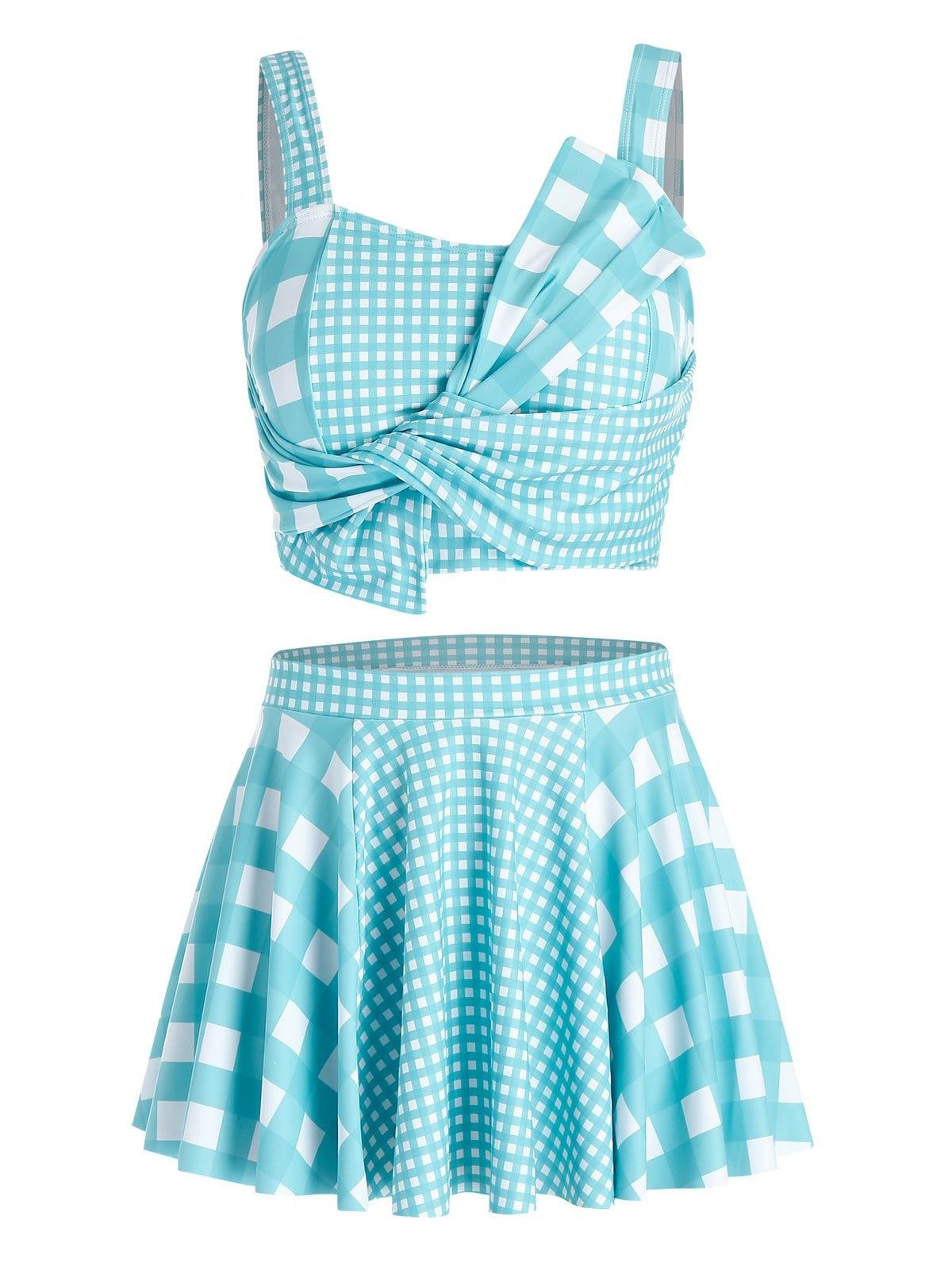 Plus Size Plaid Design Asymmetric Tankini Swimsuit