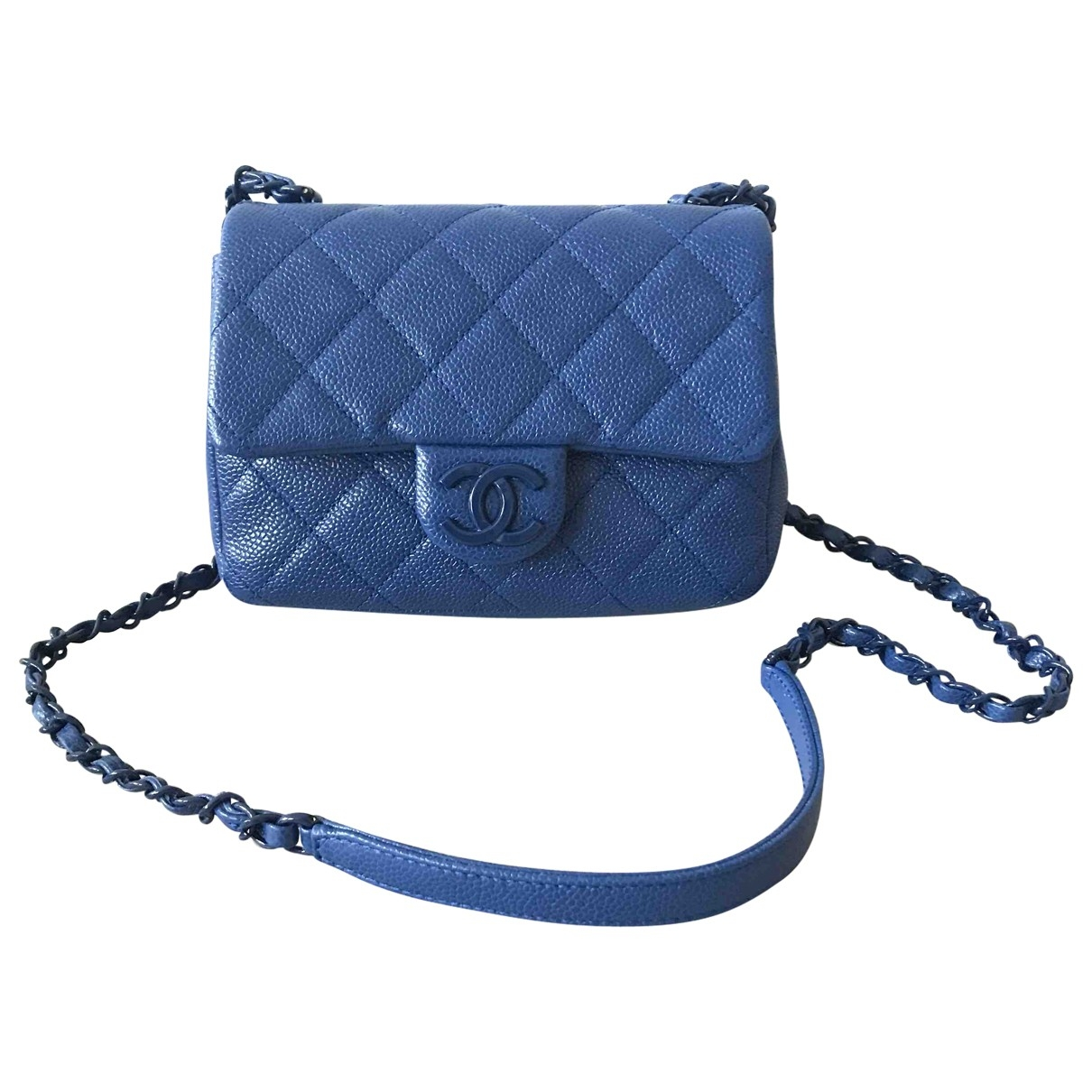 Chanel Timeless/Classique Handtasche in  Marine Leder